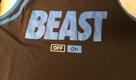 Tank Top XL BEAST Mode On Off Blue Black Gym Work Out in Kingwood, Texas