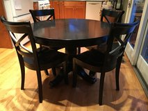 """Crate and Barrel AVALON Extension Table, SIX (6) VINTNER Chairs and 17"""" leaf in Glendale Heights, Illinois"""
