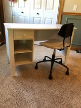 White desk and chair in Joliet, Illinois