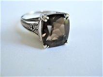 Vintage Sterling Silver CNA (Thailand) Emerald Cut Smokey Quartz – Size 8.25 in Converse, Texas