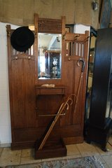Authentic Art Nouveau hall tree with mirror and glove box in Ramstein, Germany