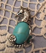 Seahorse with Turquoise Stone Large Silver on Stainless Steel Chain in Kingwood, Texas