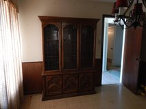 China Cabinet Walnut color Carved wood Beautiful in Alamogordo, New Mexico