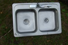 OLD STAINLESS STEEL KITCHEN SINK WITH FAUCETT in Camp Lejeune, North Carolina