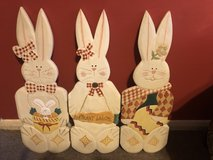 Large wooden Easter rabbits in Lakenheath, UK