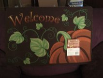 W E L C O M E  - An October Theme Pumpkin and Vine Door Mat in Fort Lewis, Washington