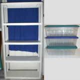White Plastic Shelf (5 non-adj height shelves) + 3 small Storage Containers w/lids in Westmont, Illinois