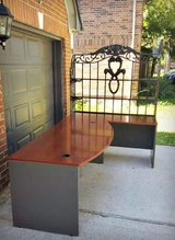 OFFICE DESK with Gorgeous Ornate Iron Hutch!!!!  Exc Cond. in Kingwood, Texas