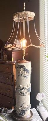 Vintage wallpaper printing roller lamp in Naperville, Illinois