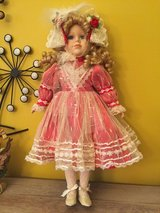 Vintage Christmas porcelain doll 16'' approx in Naperville, Illinois