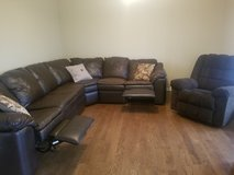 Leather Sectional Sofa & Fabric Chair in Yorkville, Illinois