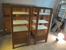 2  FOUR TIER SAUDER ENTERTAINMENT CENTERS /BOOKCASE OR END TABLES --GLASS SHELVES AND DRAWERS in Cherry Point, North Carolina