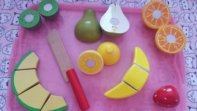 Melissa and Doug play fruit cut and serve in Chicago, Illinois