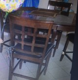 chocolate counter table (36in height) & 4 chairs (40 in tall/24 in at seat) in Kingwood, Texas