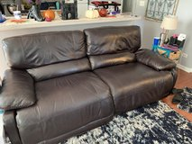 Used dark brown leather couch in Joliet, Illinois