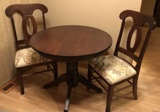 Walter E Smithe Evanston Breakfast Table & 2 Pierre Chairs Upholstered in Sandwich, Illinois