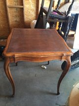 Antique bridge card table w/leather inlay and pull-out drink holders. Very unique! Appraised at ... in 29 Palms, California