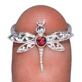 New - Dainty Dragonfly Red Fire Opal 925 Sterling Silver Ring - Size 9 in Alamogordo, New Mexico