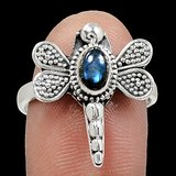 New - Dragonfly Labradorite 925 Sterling Silver Ring - Size 8 in Alamogordo, New Mexico