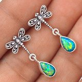 New - Dainty Dragonfly Teal Fire Opal 925 Sterling Silver Earrings in Alamogordo, New Mexico