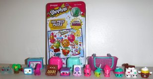 Like New! Shopkins Puzzle + 16 Figures + 4 Accessories in Orland Park, Illinois