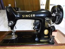 1957 Singer 99K Portable Black Electric Sewing Machine w Pedal, Hard Case in Okinawa, Japan