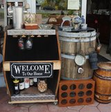 half barrel as bar shelf for decoration and use in Ramstein, Germany