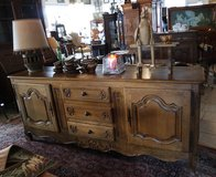 rustic antique tiger oak buffet with carved ornaments in Stuttgart, GE