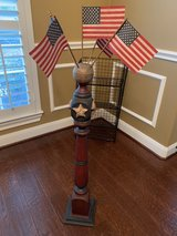 Painted Wood Flag Spindle with 5 American Flags in Kingwood, Texas