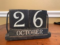 Distressed black wood date blocks in Kingwood, Texas