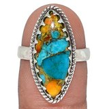 New - Spiny Oyster & Arizona Turquoise 925 Sterling Silver Ring - Size 7.5 in Alamogordo, New Mexico