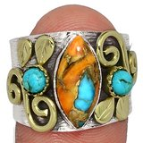 New - Spiny Oyster and Arizona Turquoise 925 Sterling Silver Ring - Size 9 in Alamogordo, New Mexico