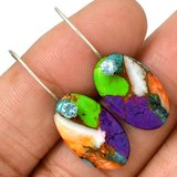 New - Multi Color Copper Turquoise & Blue Topaz 925 Sterling Silver Earrings in Alamogordo, New Mexico