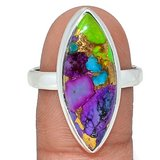 New - Multi Color Copper Turquoise 925 Sterling Silver Ring - Size 10 in Alamogordo, New Mexico