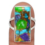 New - Multi Color Copper Turquoise 925 Sterling Silver Ring - Size 7 in Alamogordo, New Mexico
