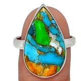 New - Multi Color Copper Turquoise 925 Sterling Silver Ring - Size 10.5 in Alamogordo, New Mexico