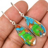 """New - Multi Color Copper Turquoise 925 Sterling Silver 1 7/8"""" Earrings in Alamogordo, New Mexico"""