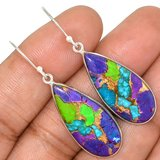New - Multi Color Copper Turquoise 925 Sterling Silver Earrings in Alamogordo, New Mexico