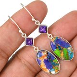 """New - Multi Color Copper Turquoise & Amethyst 925 Sterling Silver 2"""" Earrings in Alamogordo, New Mexico"""