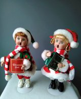 Christmas~ Boy and Girl Standing Carolers~Plays a Song and Moves Excellent Condition in Joliet, Illinois