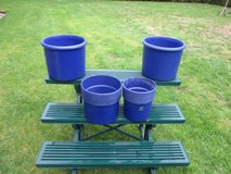 blue planters in Ramstein, Germany