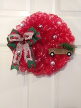 """14"""" Red Deco Mesh with Silver Foil Stripes Christmas Wreath and a Wooden Pickup Truck in Camp Lejeune, North Carolina"""