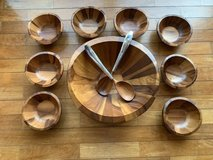 Nambe solid Hardwood Salad Bowl W/ Serving Spoons and 8 serving bowls in Okinawa, Japan
