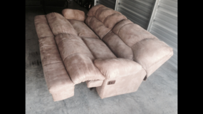 Double Recliner Tan Soft Suede Couch in Camp Lejeune, North Carolina