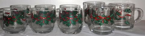Anchor Hocking Christmas Holly 3 Mug /Cups + 6 Old Fashioned Tumbler Glass Set in Naperville, Illinois