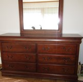Bedroom Set (2 of 2 ads): Queen Sleigh Bed, Dresser, and 2 Side Stands in Stuttgart, GE