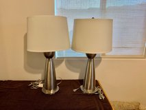 Two brushed stainless table lamps in Yucca Valley, California