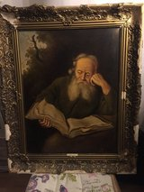 "Antique Oil Painting, large  ""Reading Eremit"" in Stuttgart, GE"