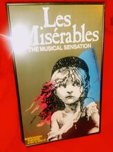 "Framed ""LES MISERABLES"" Musical Broadway Window Card Poster 1986 Original 14""x 22"" in Bartlett, Illinois"