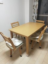 Price Reduced Solid Wood Dining table/desk with four chairs, free cotton tablecloth and table le... in Okinawa, Japan